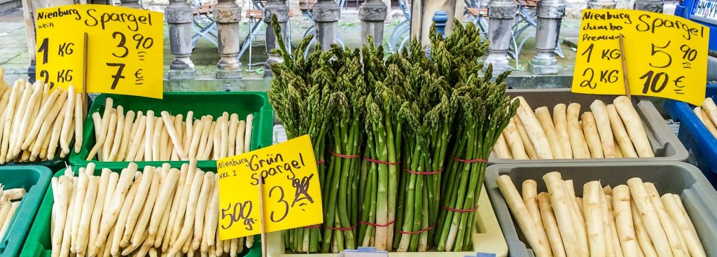 Picture of asparagus for sale at market one of many food and wine festivals in Germany.