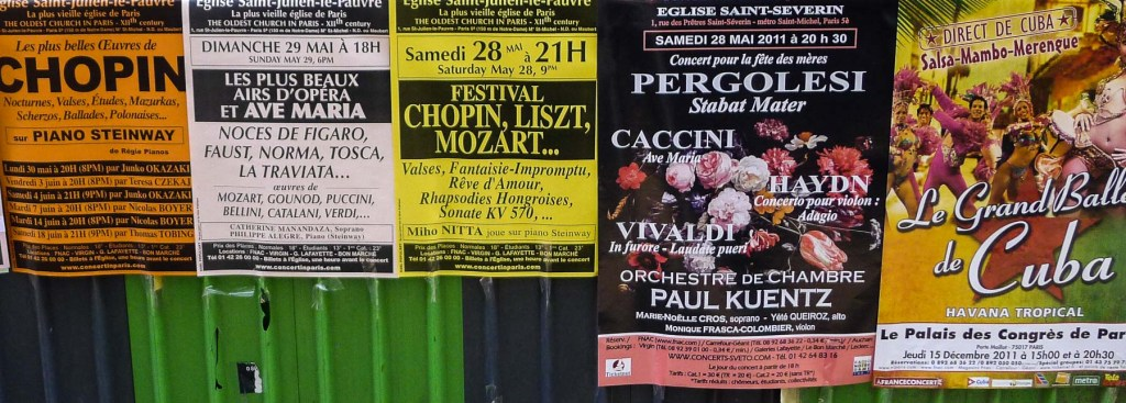 Picture of posters for Paris live music concerts.
