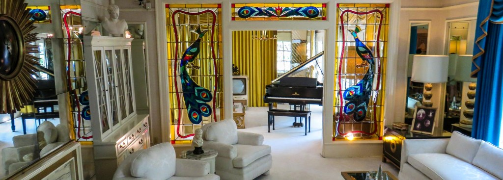 Picture of living room and music room in Graceland.