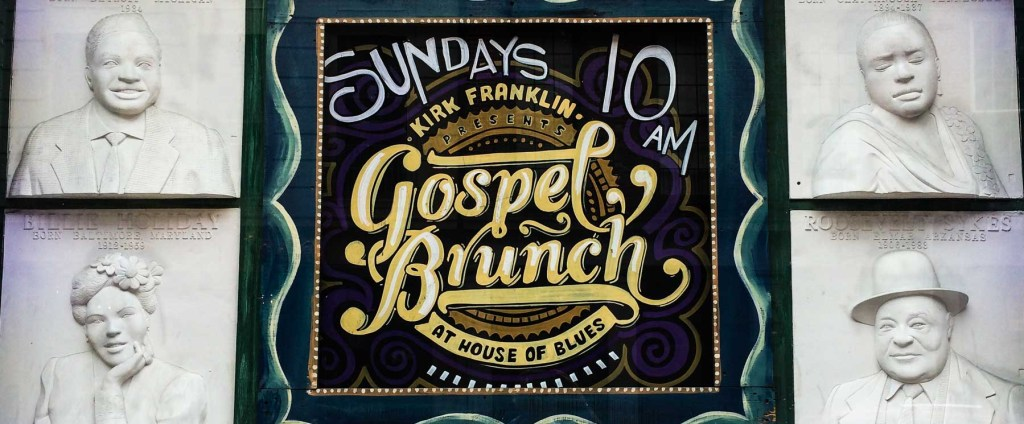 Picture of sign advertising Sunday gospel brunch.