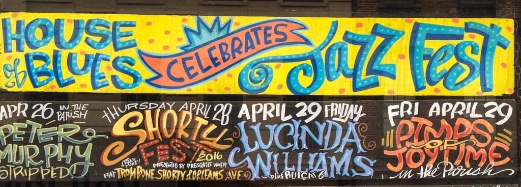 Picture of House of Blues sign with upcoming acts announced.