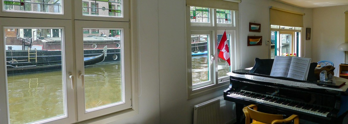 Picture of interior of Amsterdam Airbnb houseboat one of your choices if you're renting Airbnb or VRBO.