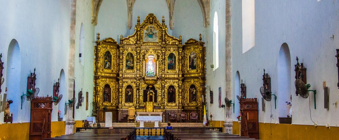 The inside of the church in the Yellow City.