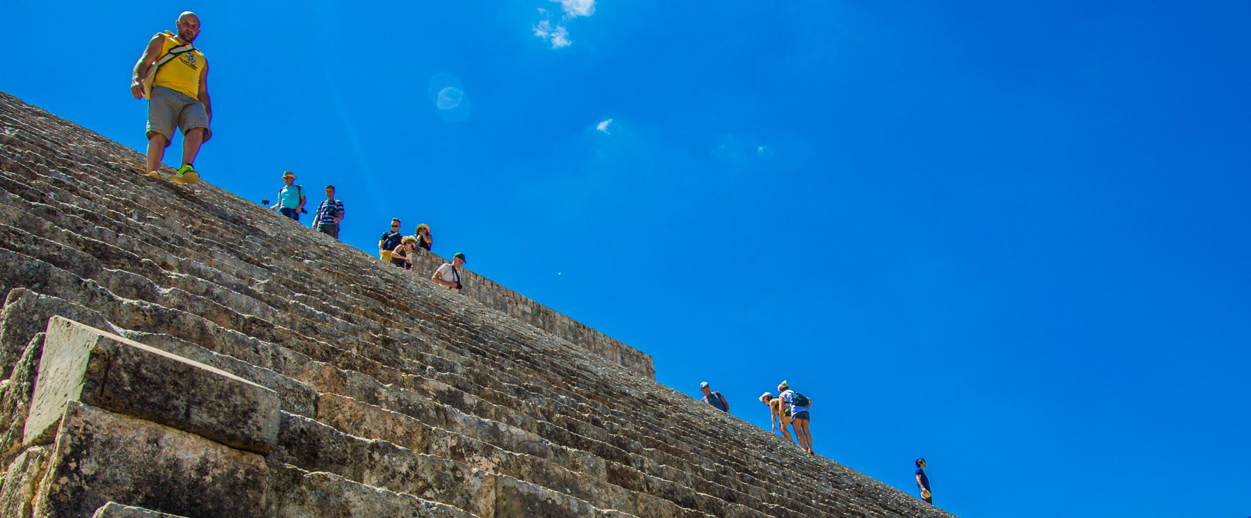 A view up the stairs of the Great Pyramid at Uxmal.