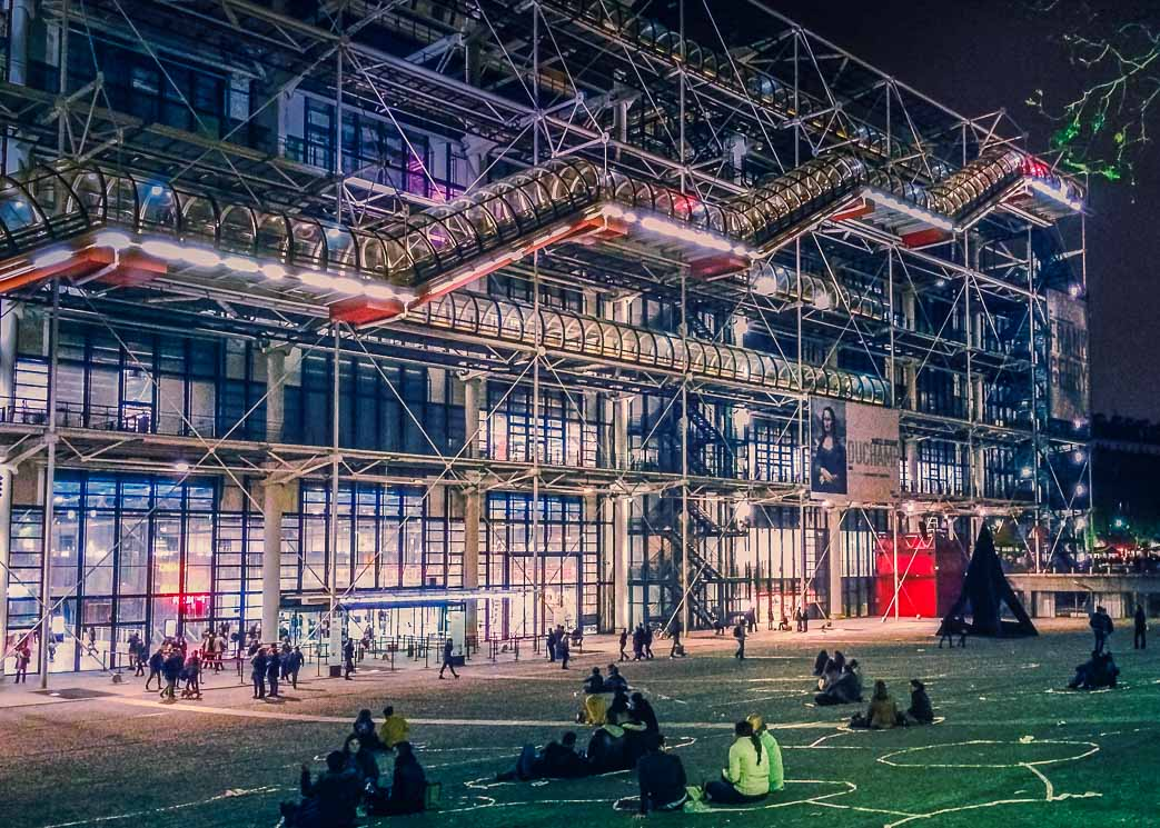 Outside of the Centre Pompidou at night.