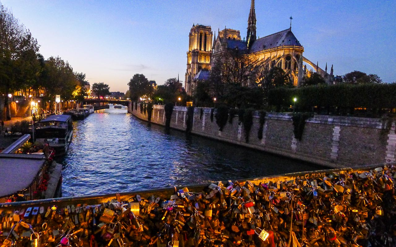 Notre Dame at sunset.