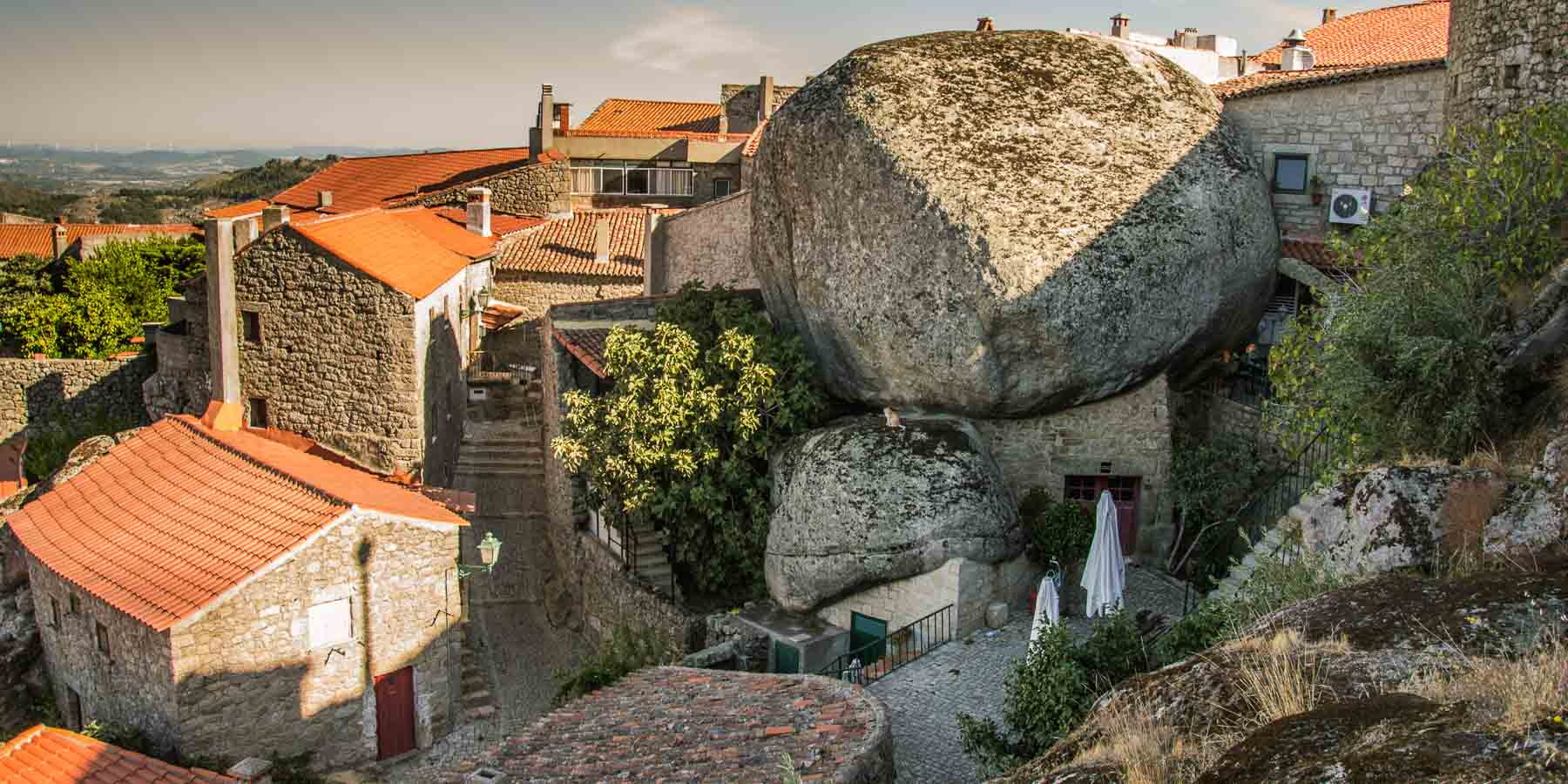 The town of Monsanto with huge boulders.