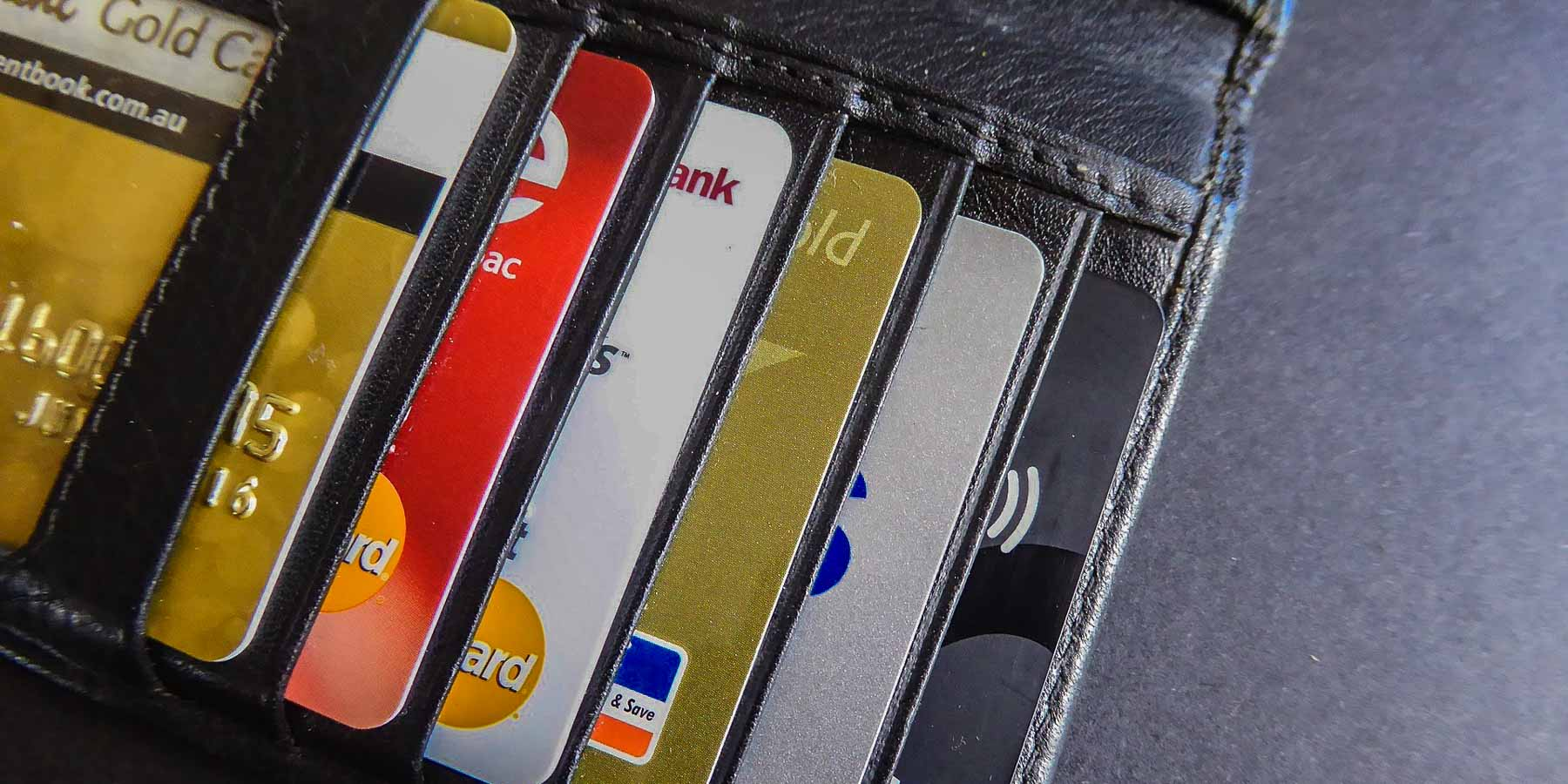 A wallet showing credit cards.