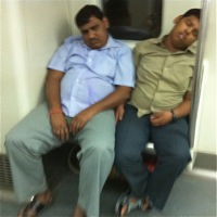 snoozing on the subway