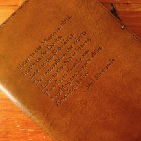 Earthworks Journals Poem on Brown Leather Journal