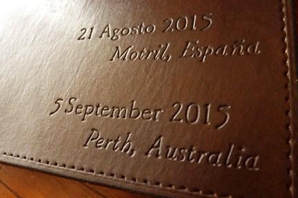 Earthworks Journals Personalised Dark Brown Leather Hand Bound Wedding Guestbook