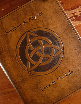 Earthworks Journals Personalised Celtic Leather Wedding Guestbook