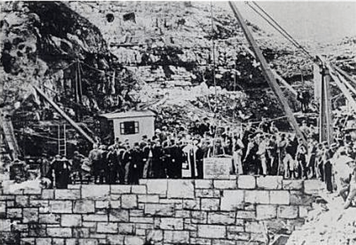 Laying of the foundation stone of the Woodhead Reservoir in 1894.