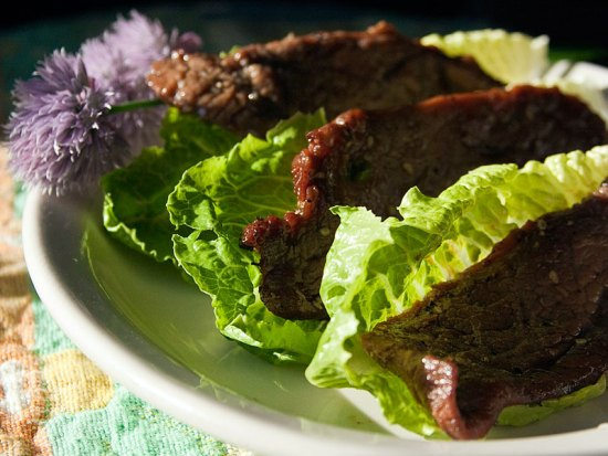 Grilled Flank Steak, Korean-style, Wrapped in Lettuce Leaves