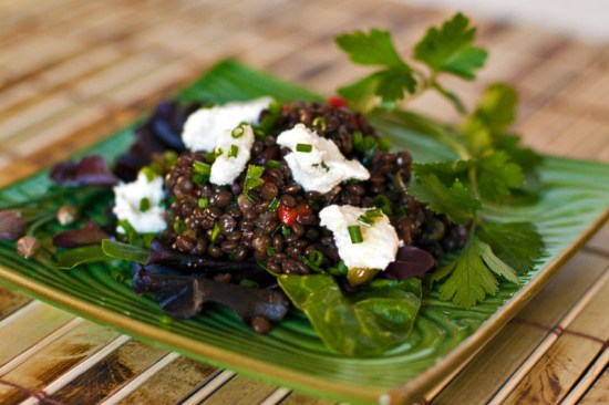 Black Beluga Lentil Salad with Chevre
