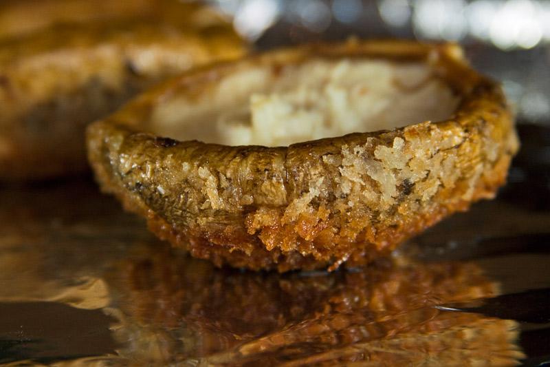 Crisped, panko-crusted matsutake cap