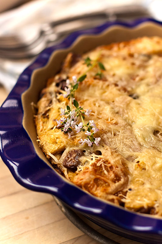 Double Mushroom and Cheese Strata