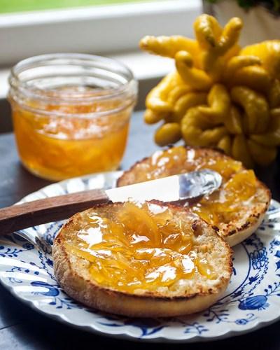 Buddha's Hand & Meyer Lemon Marmalade on toasted English muffins