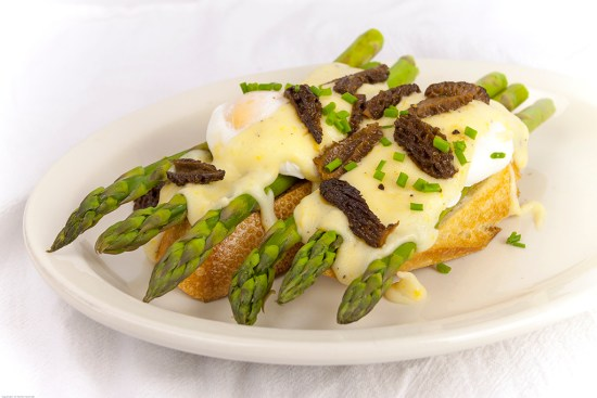 Poached Eggs with Morels & Asparagus with Meyer Lemon Sauce