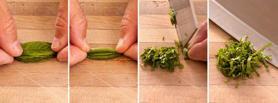 How to cut mint chiffonade