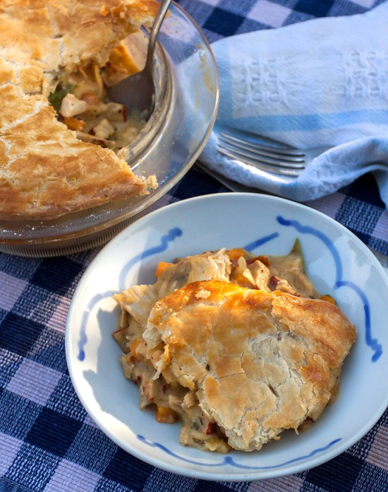 Mushroom & Chicken Pot Pie in bowl