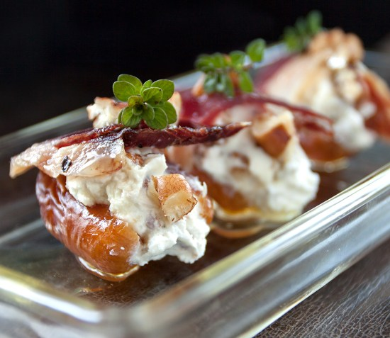 Goat Cheese-stuffed Dates with Duck Prosciutto