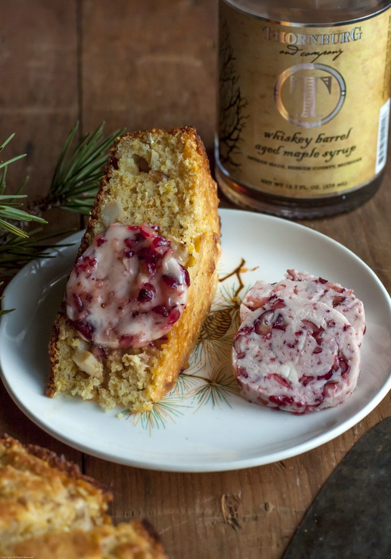 Matsutake and Pine Nut Corn Bread with Cranberry-Maple Butter