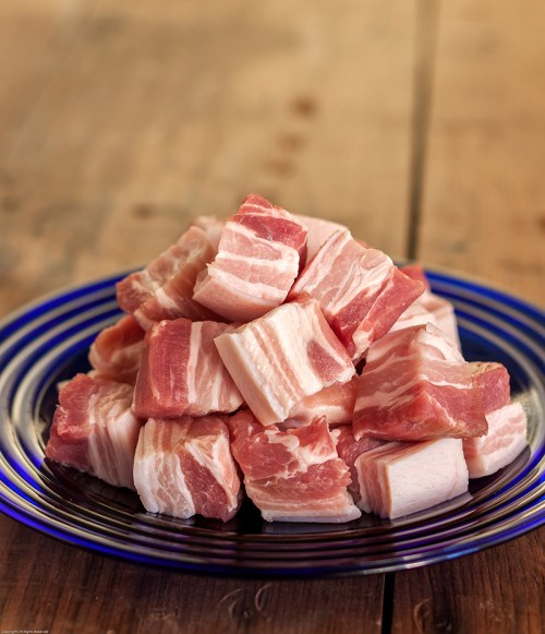 Cubes of pork belly