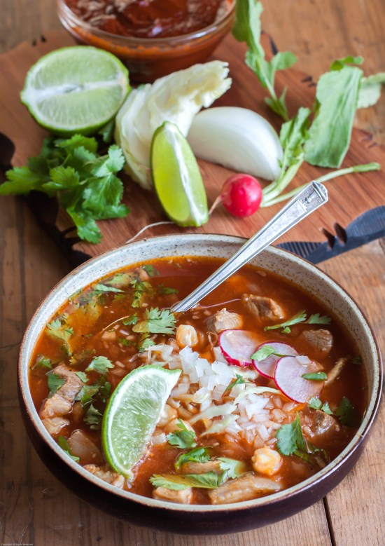 Pozole rojo with garnishes