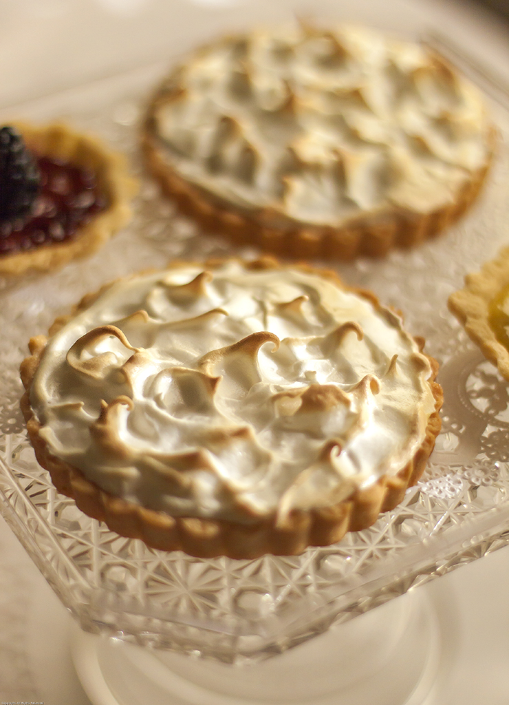 Meyer Lemon Meringue Tartlettes with Sandbakkel