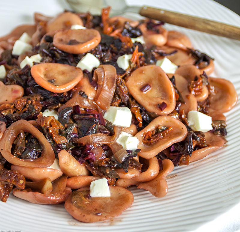 Orecchiette with beet greens