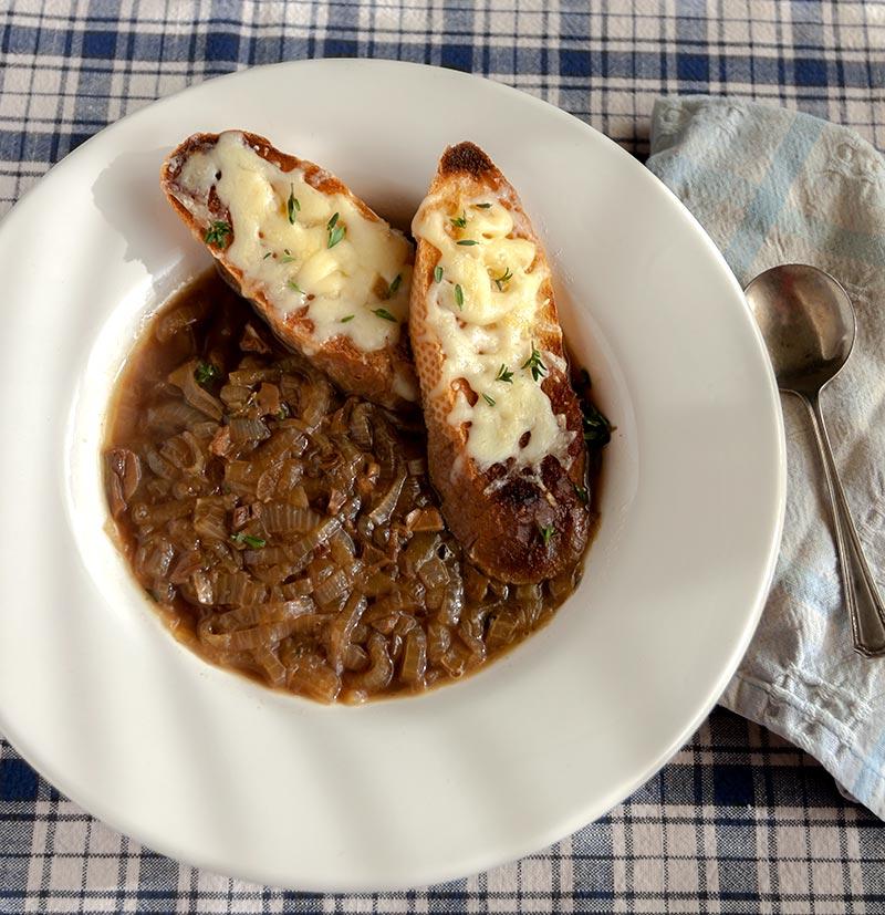Porcini-Onion Soup with Jarlsberg Croutons