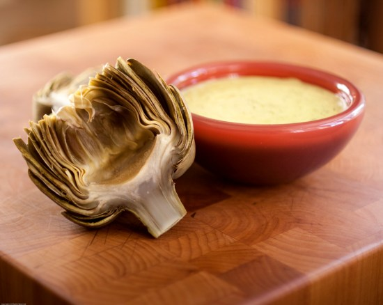 Cooked & Cut Artichoke with Ramp Aioli