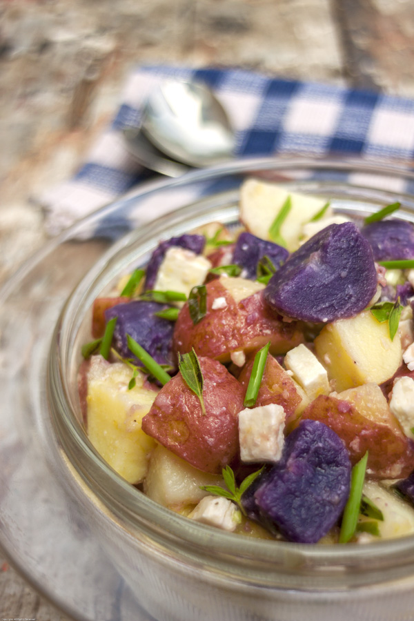 Red, White & Blue Potato Salad with Feta