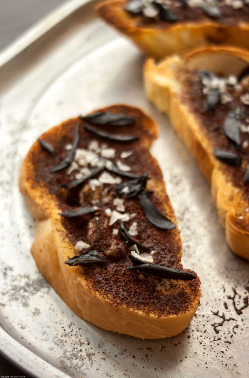 Toasted Bread with Chocolate, Olive Oil & Black Garlic