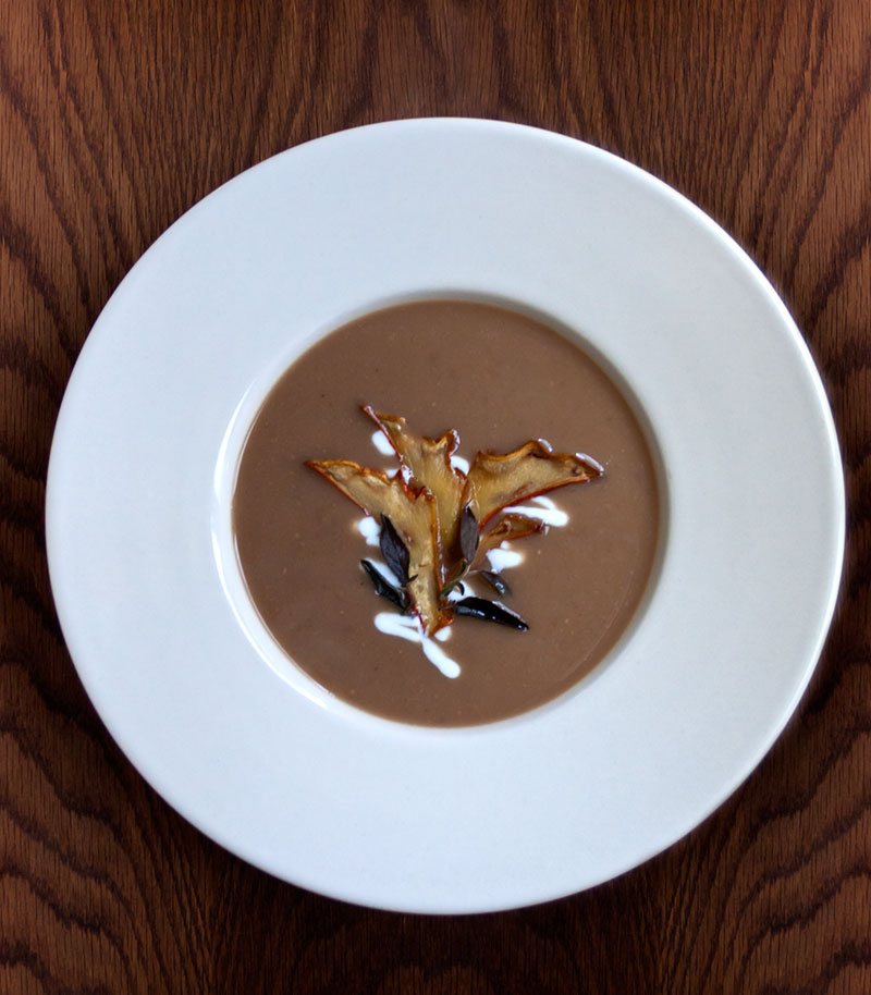 Chestnut Soup with Wild Mushrooms