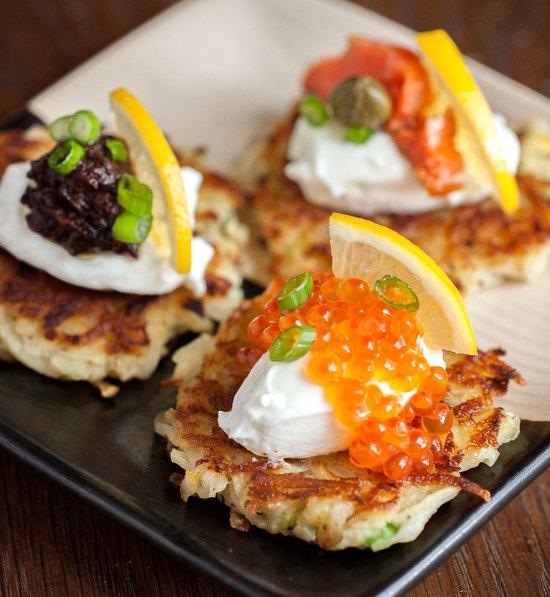 Potato-Apple Pancakes with Caviar, Smoked Salmon and Black Garlic Tapenade