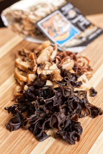 Reconstituted dried mushrooms
