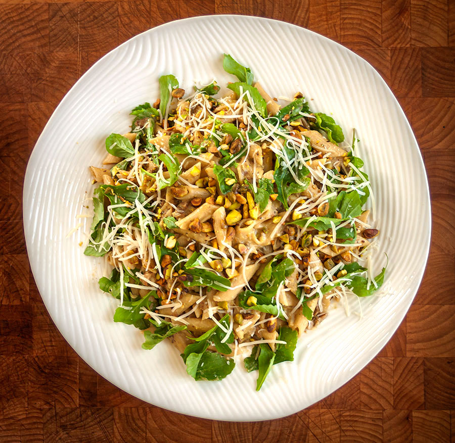 Farro Penne with Porcini, Pistachios and Arugula