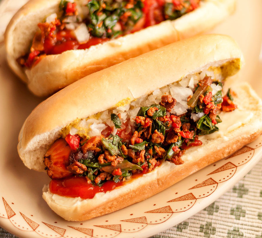 Classic Frankfurters with Grilled Ramp Relish