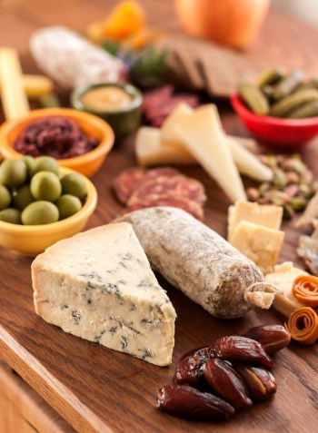 Stilton, salame and dried dates