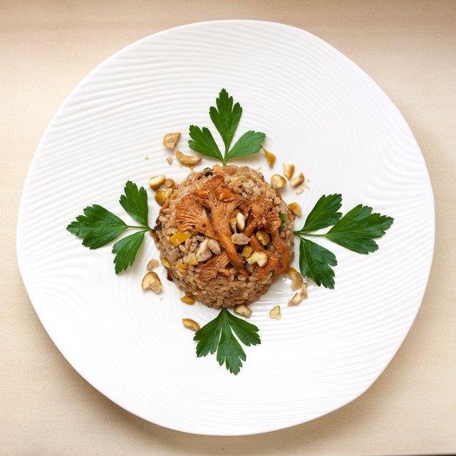 Farro, Wild Mushroom and Chestnut Salad with Sherry Vinaigrette