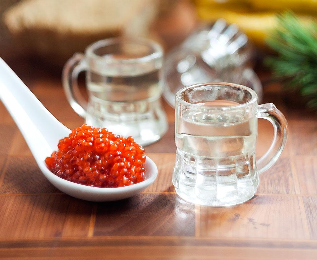 Steelhead Caviar with Buddha's Hand-Infused Vodka wide