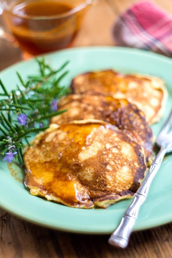 Sweet Potato & Cornmeal Pancakes with Spicy Maple Syrup