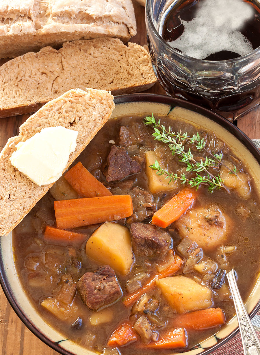 Picture of a big bowl of Guinness and Beef Stew with Wild Mushrooms