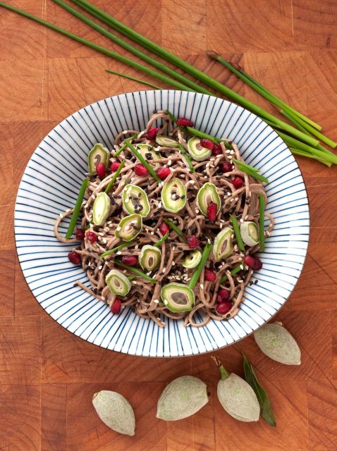 Sesame-Buckwheat Noodles with Fresh Green Almonds from above