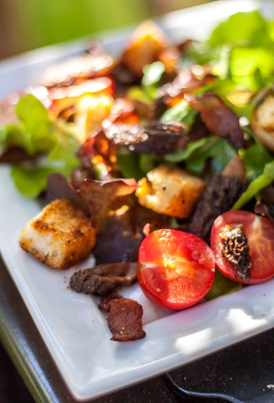 BLT Salad with Jowl Bacon and Morel Mushrooms
