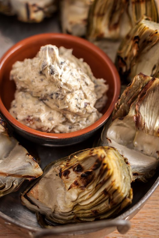 Grilled Artichokes with Morel-Date Butter