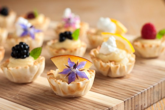 Mini phyllo cups with pawpaw curd & fruits