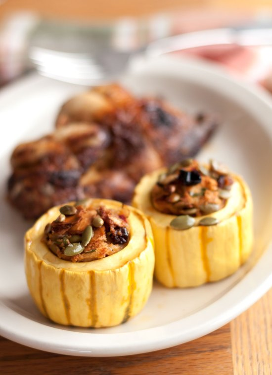 Roasted Delicata Squash with Dried Cherry-Pepita Stuffing